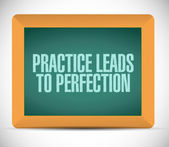 Practice leads to perfection blackboard sign. — Stock Photo