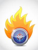 Compass on fire. illustration design — Photo