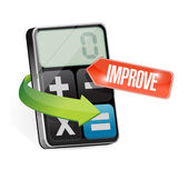 Calculator and improve sign illustration — Stock Photo