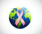 Globe and pink support ribbon illustration — Stock Photo