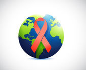 Globe and red support ribbon illustration — Foto de Stock