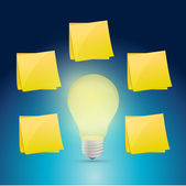 Lightbulb idea around posts illustration design — Photo