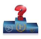Question mark on first place. podium illustration — Stock Photo