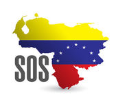 Sos venezuela map illustration design — 图库照片