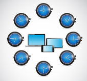 Time around electronics illustration design — Stock Photo