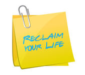 Reclaim your life post it illustration design — Stock Photo