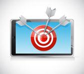 Tablet and target illustration design — Stock Photo