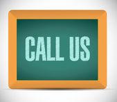 Call us message on a chalkboard. illustration — Stok fotoğraf