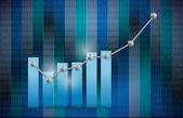 Blue business graph illustration design — Stock Photo