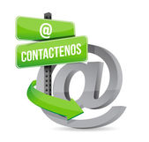 Contact us at symbol in spanish. illustration — Stockfoto