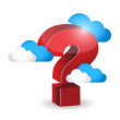 Question mark around clouds. illustration — Stock Photo #43776639
