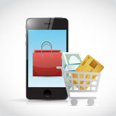 Shopping concept and phone illustration design — 图库照片