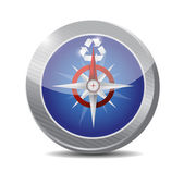 Compass and recycle symbol. illustration — Stock Photo