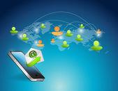 Phone and world map social media illustration — Stock Photo