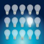 Set of light bulbs and one bright idea. — Stock Photo #44312271