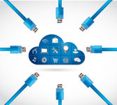 Cloud computing storage connection network. — Stock Photo