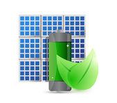 Solar panel and eco battery illustration design — Foto de Stock