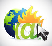 Globe and email on fire. illustration design — Stock Photo
