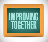 Improving together message on a blackboard. — Stock Photo