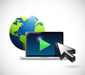 International video marketing concept illustration — Stock Photo
