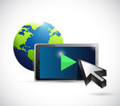 Globe and video player concept illustration design — Stock Photo