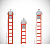 Ladders and people going up. illustration design — Stock Photo