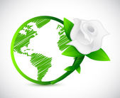 Green globe and a rose. illustration design — Stock Photo