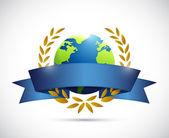 Globe laurel sign illustration design — Stock Photo