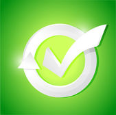 Check mark illustration design over a green — Stock Photo