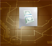 Money locator on a map. illustration design — Stock Photo