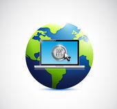 Computer laptop and globe. illustration design — Stock Photo