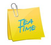 Tea time post message illustration design — Stock Photo
