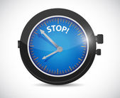 Watch and stop sign illustration design — Stockfoto