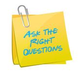 Ask the right questions posts illustration — Stock Photo