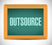 Outsource message on a board illustration design — Stok fotoğraf