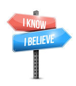 I know I believe signpost illustration design — Stock Photo