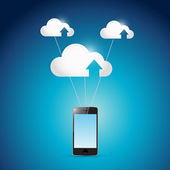 Phone and cloud computing balloons illustration — Stock Photo
