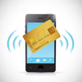 Smart phone and credit card shopping concept. — Stock Photo