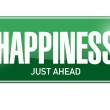Happiness just ahead street sign illustration — Stock Photo