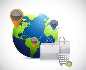 Globe and shopping concept illustration — Stock Photo