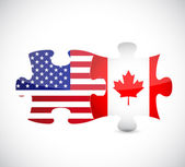 Usa and canada flag puzzle pieces illustration — Stock Photo