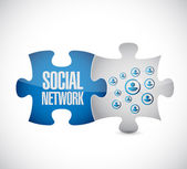 Social network puzzle pieces connection link — Foto Stock