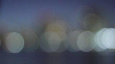 Blue, blurred, bokeh lights background. Abstract sparkles. — Vídeo de stock