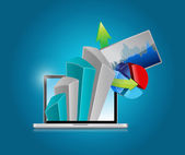 Computer and business graph and charts — Stock Photo