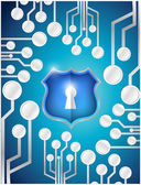 Circuit board security shield illustration — Stock Photo