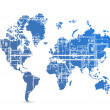 Blueprint world map illustration design — Stock Photo