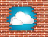 Cloud behind a brick wall illustration design — 图库照片
