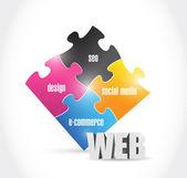 Web solutions puzzle illustration design — Stock Photo