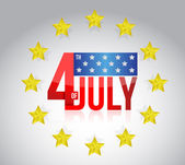 Fourth of july sign and golden stars. illustration — Stock Photo