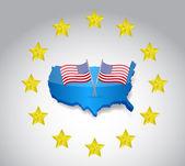 Usa flags and stars. illustration design — Stock Photo